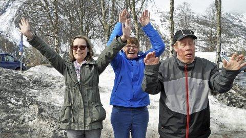 Klar for jubel: Tonje Westby (f.v.), Anne Kari Larsen og Thomas Skar er klar for Bysprinten. Foto: Morten Klaussen