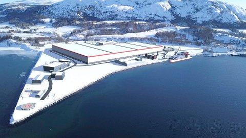 BATTERIFABRIKK: Slik ser Helgelendingen Kommunikasjon og Advanced 3D Solutions for seg at en batterifabrikk kan se ut på næringsområdet i Holandsvika. Bildet er klippet ut av en markedsføringsfilm som blir laget om prosjektet og som MON bruker opp i mot Innovasjon Norge.