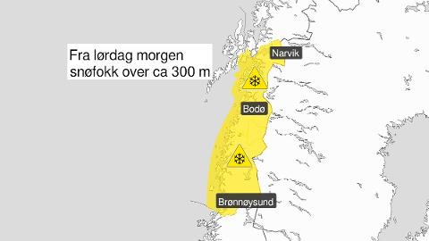 Gult farevarsel for ganske kraftig vind, og mye snøfokk på Saltfjellet lørdag og særlig søndag.