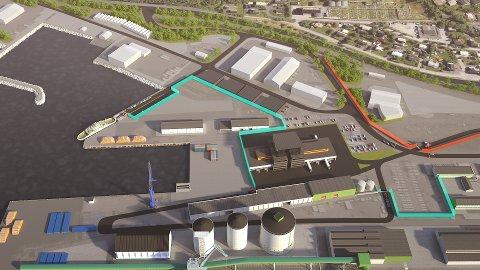 NY FERJEKAI: Helgeland Havn IKS ønsker at ferjekaien flyttes til ytterst på jernbanekaien (ved enden av den grønne streken oppe t.v.).