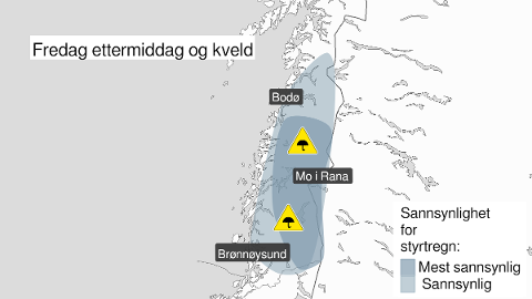 FAREVARSEL: Lokalt kan det komme både lyn og styrtregn på Helgeland. Trolig er det størst fare for dette på indre strøk.