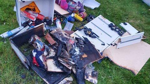 Bildet viser skadene etter at batteriet til røykvarsleren tok fyr hjemme hos småbarnsfamilien i Bodø. Foto: Privat (Gjengitt med tillatelse)