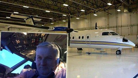 HENTER HJEM MASKIN: Flyviking drar til Canada for å hente hjem sitt første fly, et Dash 8. Her står selskapets andre fly i en hangar i Canada. Dette skal hentes først om noen uker. Fotomontasje. Foto: Privat