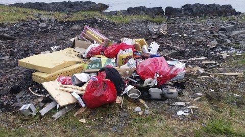 BLE FORBANNA: Rolf-Arne Nicolaisen oppdaget søppelet som lå strødd i Vika i Nordvågen i helga. Han la bildet ut på Facebook der mange har engasjert seg i saken. Nå blir tilfellet anmeldt av Nordkapp kommune, som nylig har styrket staben i miljø- og ulovlighetsoppfølgingen for å kunne ta slike saker på alvor.