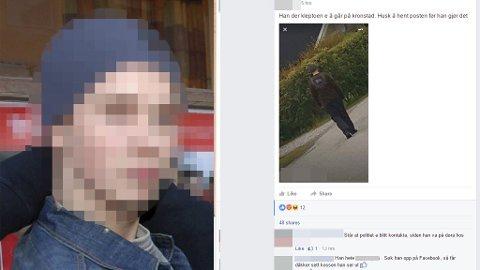 VARSEL: Dette varselet ble lagt ut på en Facebook-side for et bygdelag i går i forbindelse med at mannen bevegde seg i boligområder.