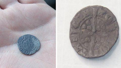 MYNTFUNN: Forsiden av mynten funnet av Tor Inge Iversen og Roy Vidar Nilsen i juli 2014 med portrett av kong Edward I (konge i England 1272-1307) eller hans sønn Edward II (konge 1307-1327).