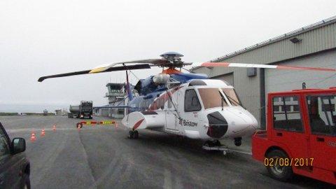 PÅ PLASS: Helikopteret fra Bristow kom til Vardø på mandag.