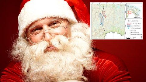 SKEPTISK: Julenissen skal være skeptisk til planene om vindkraft i grenseområdet Tana/Lebesby.