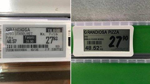 TILBUD OG TILBUD: Extra kjører denne uken tilbud på Grandiosa (prislappen til venstre). I det stille har Kiwi gjort akkurat det samme (prislappen til høyre). Foto: Halvor Ripegutu