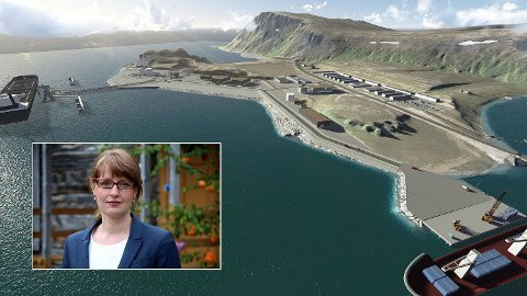 Irmelin Noresjø (Krf) er leder i Nordnorsk Petroleumsråd. Hun mener Equinor snart må skjønne alvoret og holde hva de har lovet i Nordkapp. Bildet i bakgrunnen er en illustrasjon av hvordan en stor oljeterminal på Veidnes ved Nordkapp kunne sett ut.