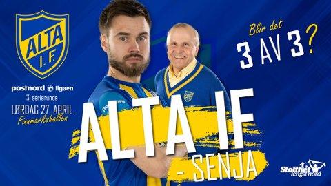 TRE AV TRE: Greier Altas andredivisjonslag og vinne den tredje seriekampen også? Slik reklamerer klubben for kampen på Facebook.