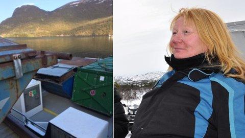 KAIA FULL AV SØPPEL: Bygdelagsleder Synnøve Nuth Pedersen sto med kaia full av søppel og for liten båt.