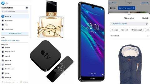 Her er noen eksempler på varetyper som kvinnen svindlet kjøpere med på Finn og Facebook. Montasje