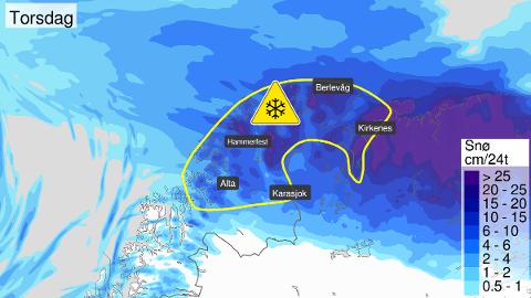 INGEN VÅR ELLER SOMMER I SIKTE: Det er meldt om masse snø og masse vind torsdag og fredag, så noe vår er i alle fall ikke i anmarsj her i Finnmark.