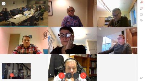 SKJERMDUMP: Fredag var det et digitalt møte i formannskapet i Alta. Trine Noodt (i midten) tok til orde for å åpne for fritidsaktiviteter innendørs for barn.