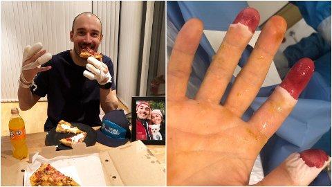 HJEMME: Andreas Nygaard kan glede seg over lokal pizza og bedring for de frostskadde fingrene hans etter at han i går kom tilbake fra sykehus i Italia til Tromsø.