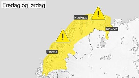 FARE: Disse områdene er det meldt om moderat fare for ising på skip.