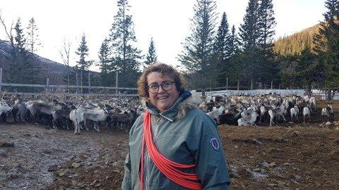 """REINDRIFTSMINISTER: Landbruks- og matminister Olaug V. Bollestad (KrF) er også minister for reindrifta. Nå går hun ut mot hetsen og truslene i kjølvannet av """"Kiira-saken"""" i Finnmark. Vi gjør oppmerksom på at bildet er tatt i en annen, mer hyggelig, anledning tidligere, derfor smiler ministeren foran reinflokken."""