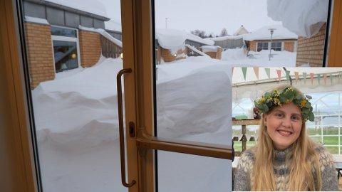 EN LØSNING: Otilie Næss fra Vadsø foreslår at ungdommen kan engasjeres for å rydde bort snø fra vinduer og nødutganger ved bo- og behandlingssenteret i Vadsø.