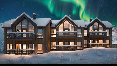 NYTT PROSJEKT: Skaidi Lodge vil bestå av seks fritidsleiligheter fordelt på tre bygg, og vil se omtrent slik ut (Illustrasjonsfoto)