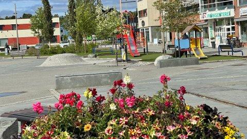 Med bystatus i år 2000, fikk Alta også tilnavnet «Nordlysbyen». Slik ser det ut midt i sentrum en junidag. Foto: Heidi Schei Lilleås