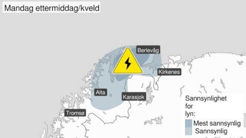 SLIK SER FAREVARSLET UT: Mandag ettermiddag og kveld ventes det mye lyn og torden i Finnmark. Mest intenst vil det være i fjordstrøkene, men også kysten og nordlige deler av vidda blir berørt.