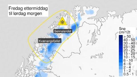 FØRSTE SNØFALL: Store deler av både Finnmark og Troms ligger innenfor området hvor det forventes å kunne komme snøbyger fredag ettermiddag og natt til lørdag.