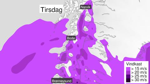 UVÆR: Forventer kraftige vindkast i nesten hele Nordland i starten av uka.