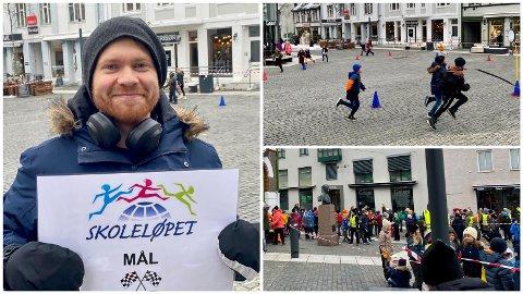 LØPEFEST: Fjerde til syvende trinn fra Harstad og Seljestad skole møtte fredag formiddag opp i sentrum for å løpe til inntekt for årets TV-aksjon. Even Nielsen sto for kontroll og logistikk.