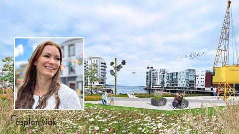 OASE: – Dette kommer til å bli en grønn oase ved sjøen, forteller Harstad kommunes landskapsarkitekt Lillian Sharma.
