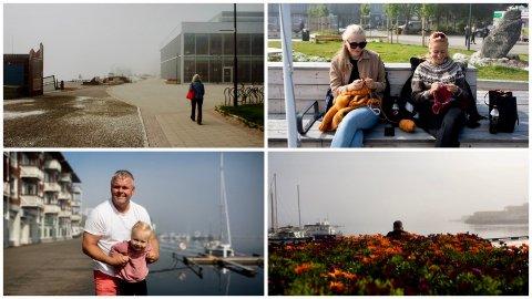 FRA TÅKE TIL SOMMER: Tirsdagen inneholdt flere vær-varianter i Harstad sentrum.