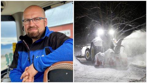 BRØYTEKONGEN: Julian Solnes driver Solnes Maskin AS. Bedriften vant hele fem roder under anbudskonkurransen for vintervedlikehold i Harstad og Kvæfjord.
