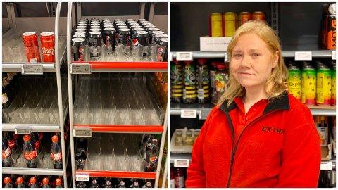 TOMT: Ved Coop Extra Fjordgata i Harstad sentrum har de slitt med leveringen av diverse brusbokser i lang tid, sier butikkansatt Caroline Bogen.