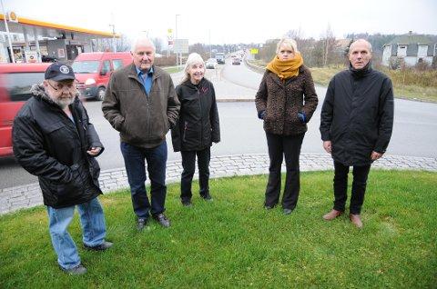 Ønsker ny bru: Kjell Grøneng (t.v.), Knut Stålsett, Marit Kringberg, leder Anne-Hege Svartdal og Rolf Gjetrang i Fetsund Vel kjemper for alternativ A for ny Glommakryssing.