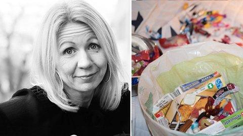 I SØPLA: Snop som ikke var pakket inn, gikk rett i søpla hjemme hos Anne Brith Davidsen. FOTO: PRIVAT/ANNEBRITH.BLOGG.NO