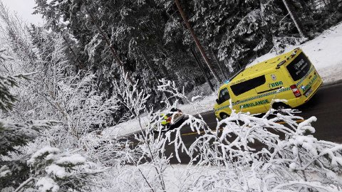 Rykket ut: Nødetatene rykket ut til ulykken på fylkesvei 21 på Setskog. Foto: Indre-tipser