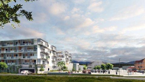 Utvidelse av Bjørkelangen Torg med eget parkeringshus, flere hundre nye leiligheter og inntil 200 arbeidsplasser er noen av framtidsplanene for kommunesenteret i Aurskog-Høland. Foto: Lenovo