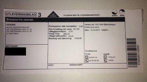 Svindel: Det ville kostet Kristoffer Bjørklund over 1.000 kroner å hente ut denne pakka, som han aldri har bestilt.