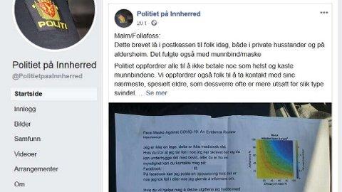 REAGERER: Kjell Erling Budal, som la brev og munnbind i postkassene til beboere i Follafoss, synes ikke noe om at politiet kalte det en svindel. – Jeg ville bare hjelpe til, sier han.   FOTO: SKJERMDUMP/FACEBOOK