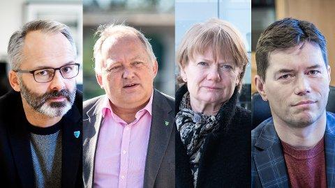LETTELSER: Jørgen Vik (t.h.), John Erik Vika, Ragnhild Bergheim og Ståle Grøtte ønsker lettelser i sine kommuner, men tre av ordførerne må bli enige om hvilke lettelser som skal gjøres først dersom de får grønt lys fra regjeringen.