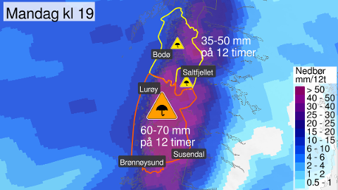 ORANSJE FAREVARSEL: Siste del av mandag ventes svært mye regn lokalt på omkring 60-70 mm på 12 timer. Opp mot 40-50 mm kan komme på 6 timer.