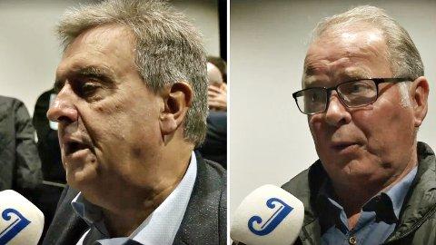 TRONG ØKONOMI: Ordførar Reinert Kverneland (t.v.) og Bjarne Undheim (Sp) var til stades då rådmannen i Time kommune presenterte sitt utkast til budsjett for 2020.