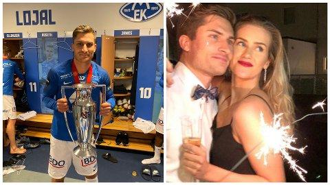 SERIEMESTER: Kristoffer Haugen med pokalen som synlig bevis på at han er seriemester med Molde. 25-åringen er kjæreste med Kjetil Rekdals datter, Sofie.
