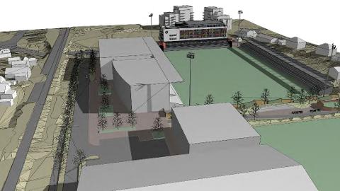 Slik har Bryne FK planlagt sitt nye stadion, sett frå sør mot nord. I nordre sving er det planlagt eit seks etasjar høgt bygg med bustader og næring, kombinert med tribune. (Illustrasjon: ARC Arkitektur)