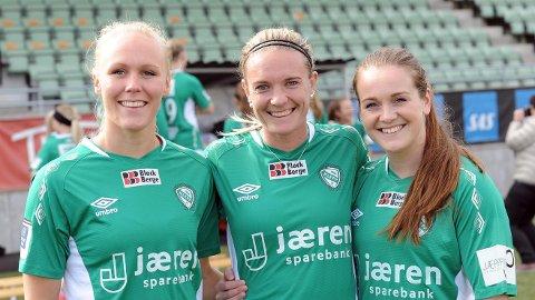 Maria Thorisdottir (f.v.), Gry Tofte Ims og Hege Hansen kan bli Klepps representanter i fotball-VM.