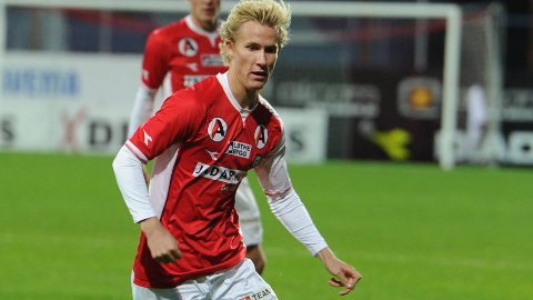 Viljar Vevatne i aksjon for Bryne. Etter sesongen kan han bli Brann-spiller.