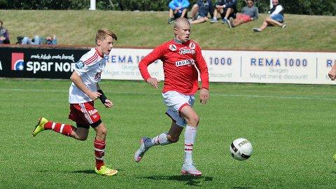 Erling Braut Håland i aksjon for Brynes G16-lag i Skagen i juli.