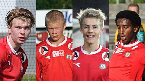 Geir André Aasen (f.v.), Erling Braut Håland, Andreas Ueland og Sander Ystanes er de fire spillerne utenfor a-troppen Bryne kan benytte i 1. divisjon i høst.