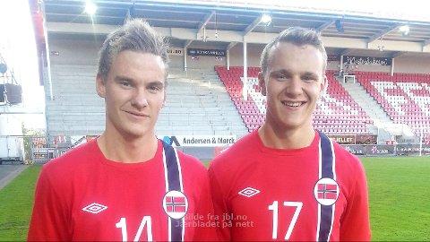 Jon Helge Tveita (t.v.) og Marius Lode i landslagsdrakt.