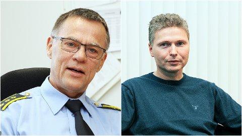 Lensmann Arild Oftedal (til venstre) og kommunelege Tord Haaland er svært kritiske til forslaget om å utvida skjenketidene på Bryne.